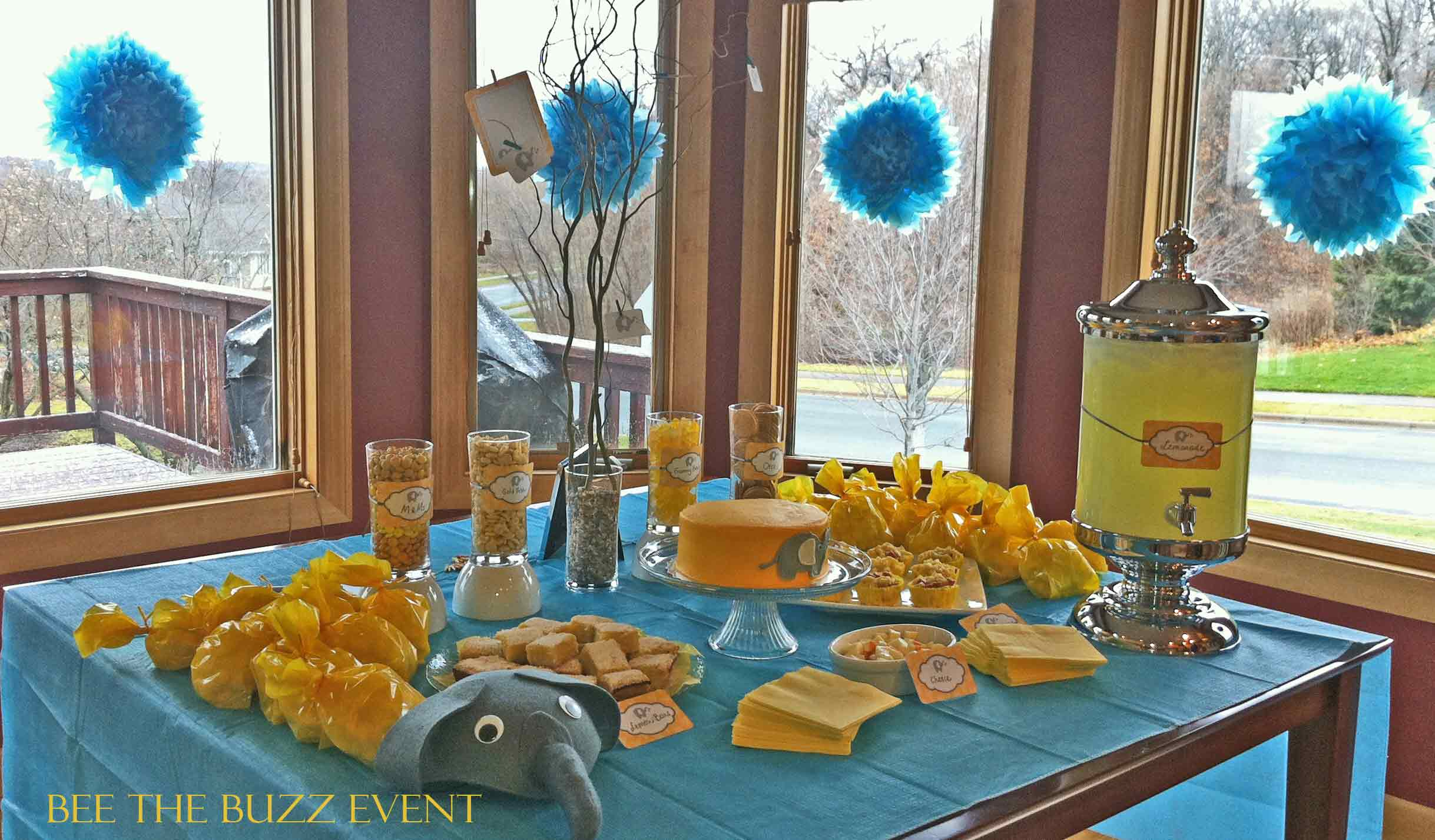 Teal And Yellow Elephant Baby Shower Bee The Buzz Event